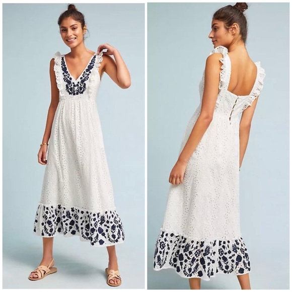 e59423d53 anthropologie Dresses | Embroidered Eyelet Midi Dress Sz Mp | Poshmark